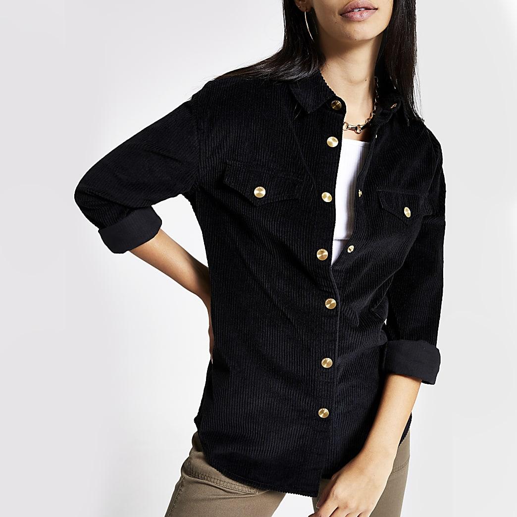 Chemise en velours côtelé noire à manches longues