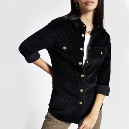 Black cord long sleeve shirt