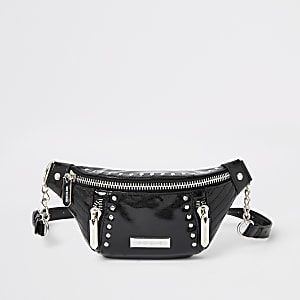 Black patent studded belt bag