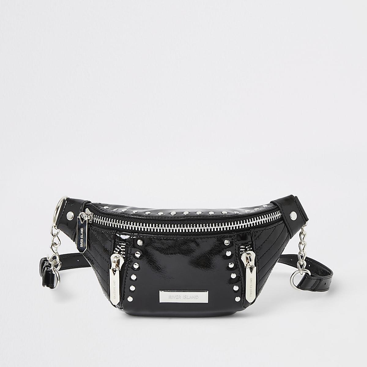 Black patent studded belt bag