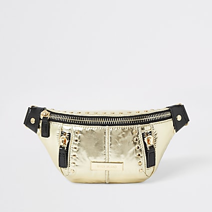 Gold studded belted bum bag