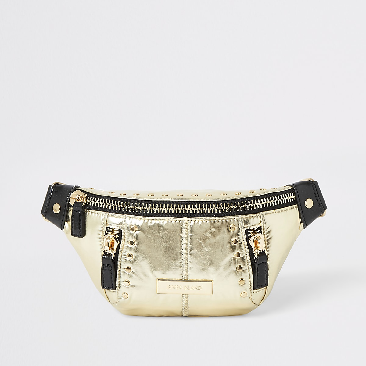 Gold studded belted bum bag