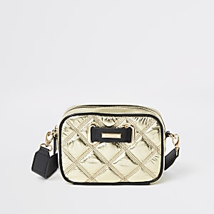 Gold quilted cross body bag