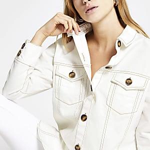Cream long sleeve twill shirt