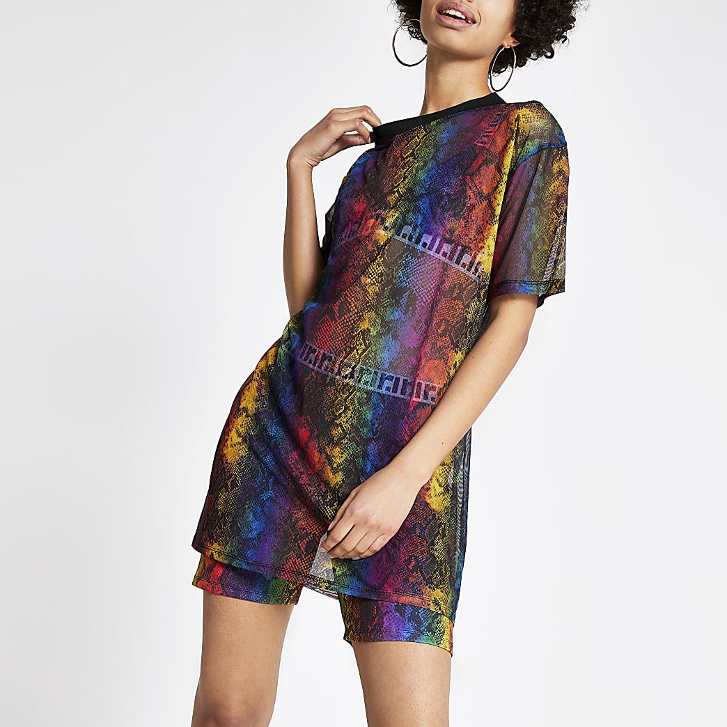 Pride - Zwart oversized T-shirt met slangenprint