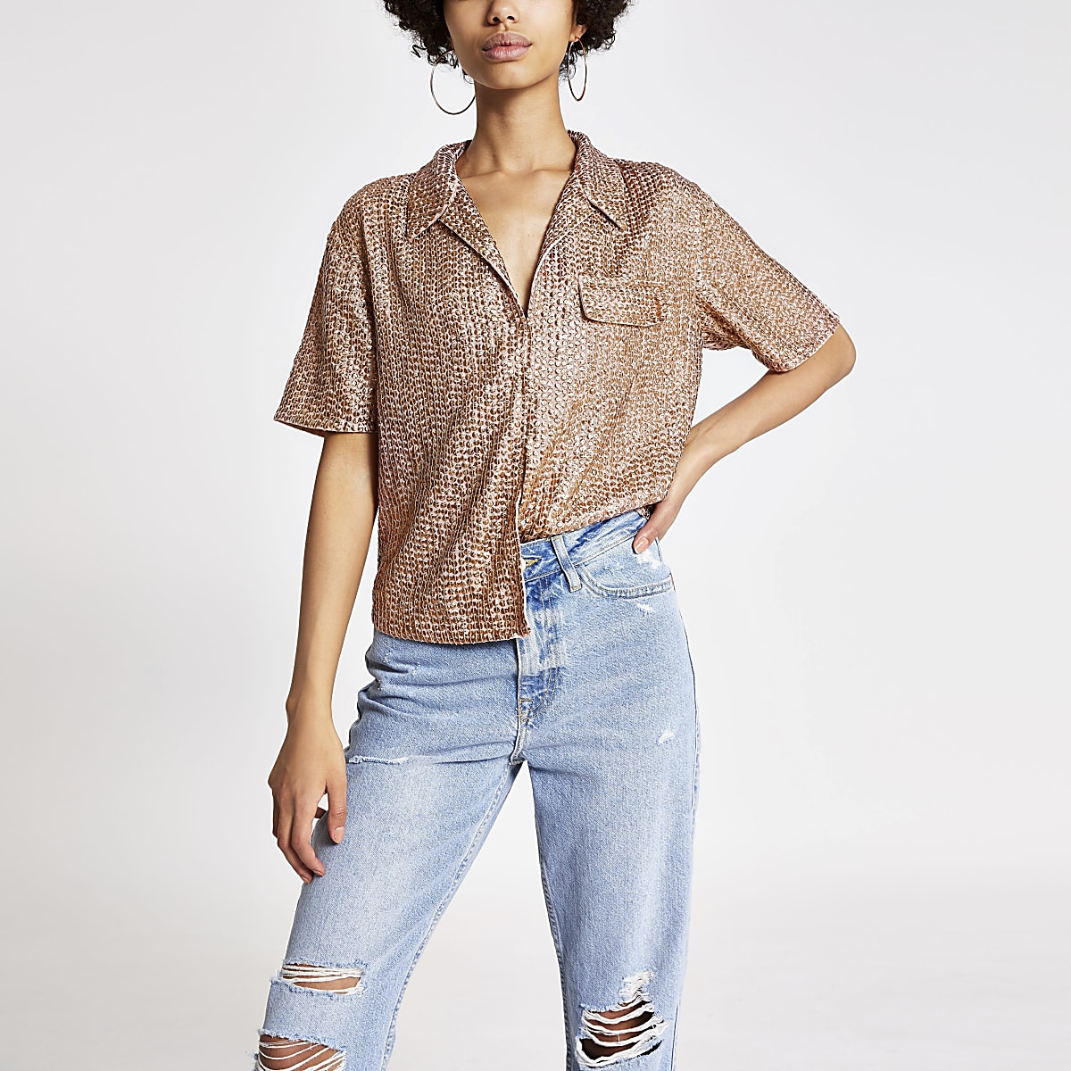 Gold sequin sequin embellished shirt