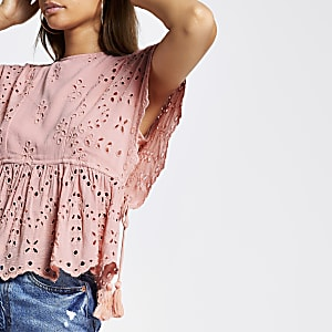 Light pink broderie tie waist top