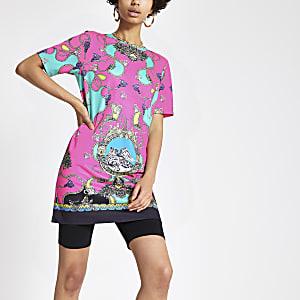 Pinkes, bedrucktes T-Shirt