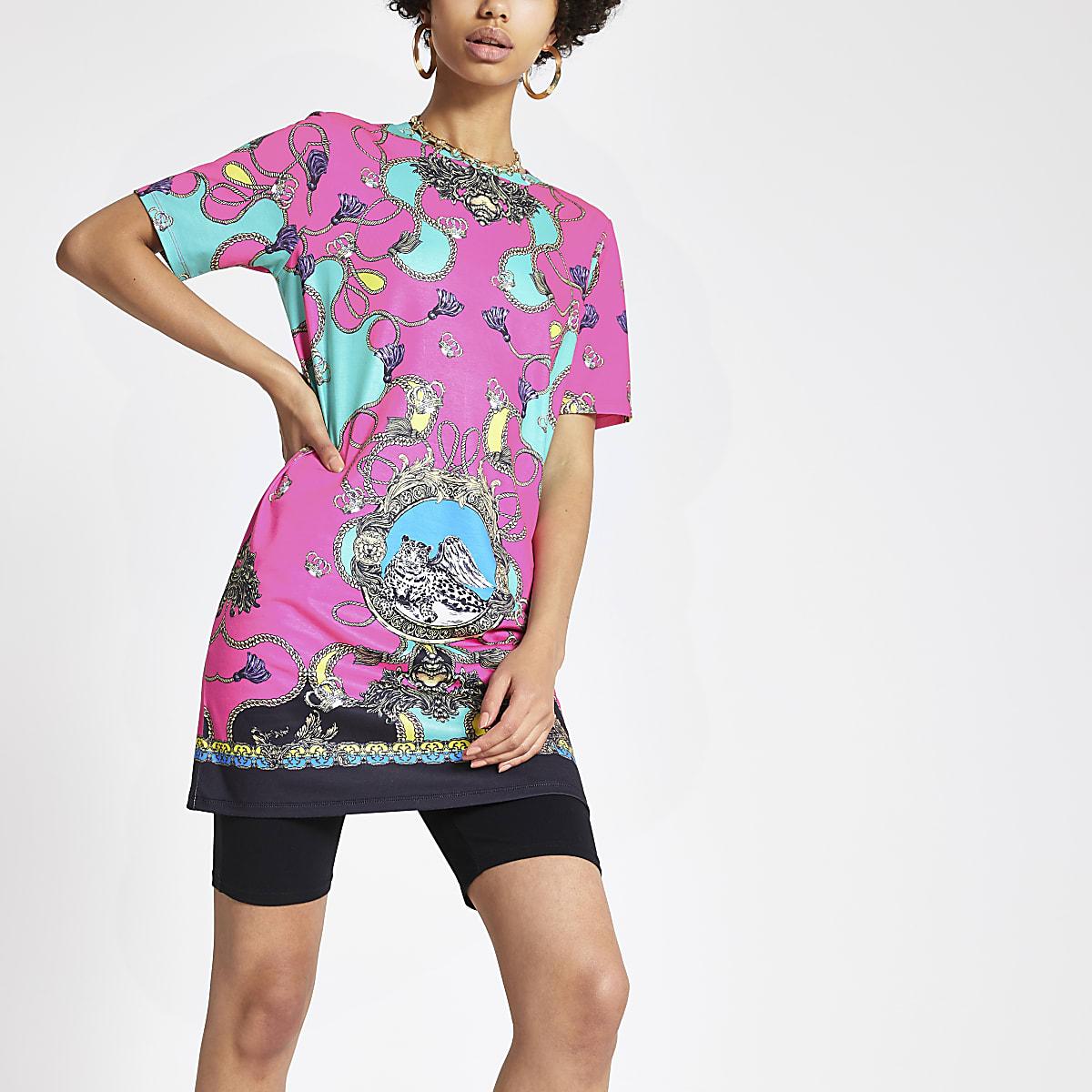 Pink chain print jumbo T-shirt