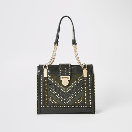 Khaki studded tote bag
