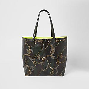 Kaki shopper-handtas met camouflageprint