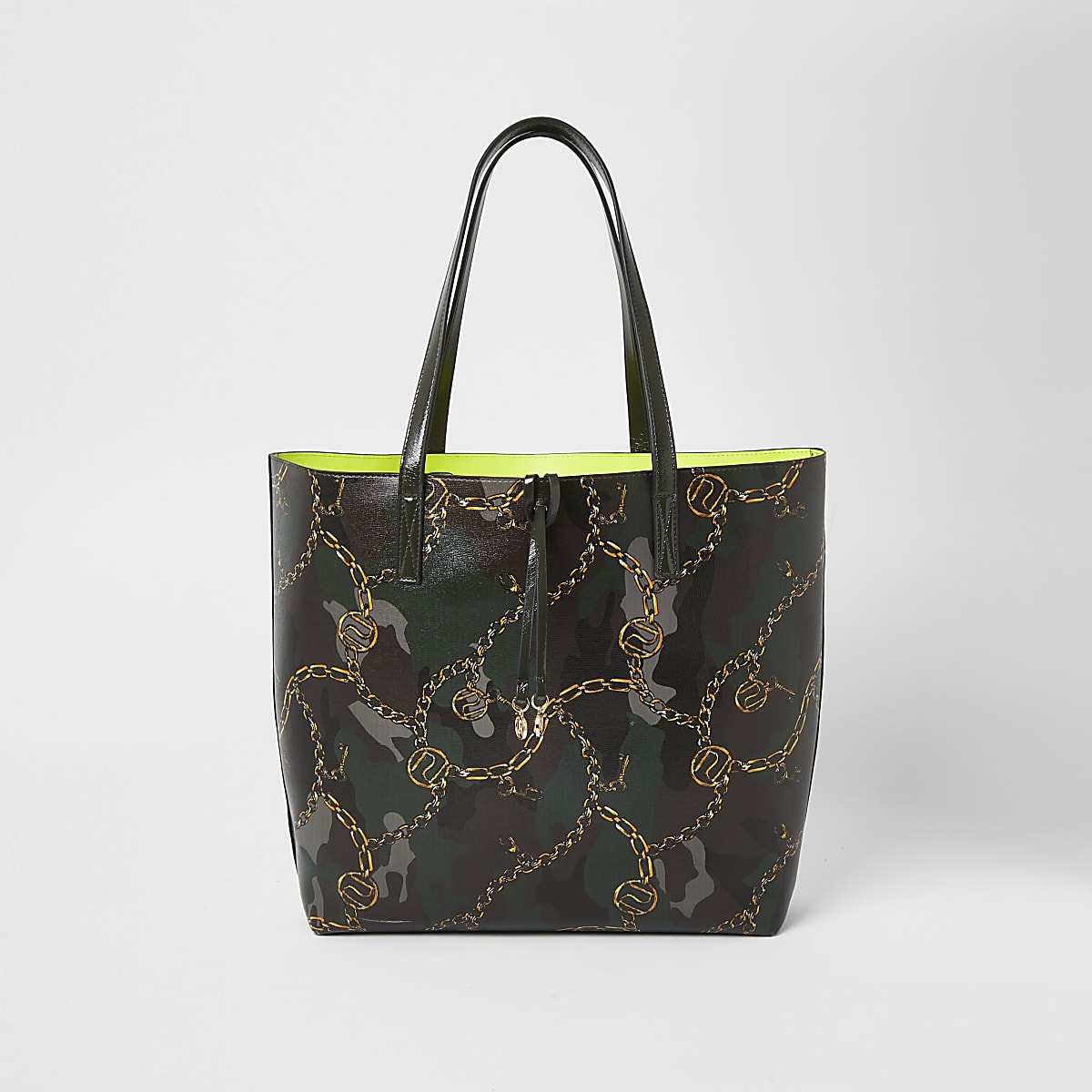 Khaki camo shopper tote bag