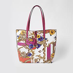 Beige Shopper-Tasche mit Schalprint