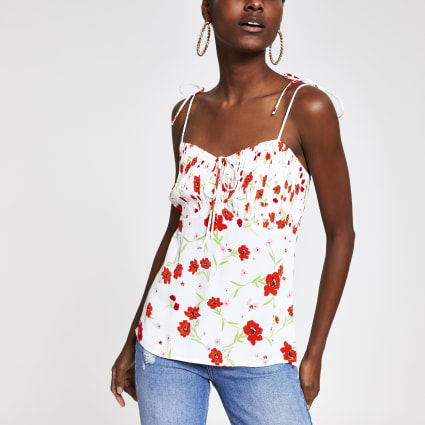 White floral tie cami top