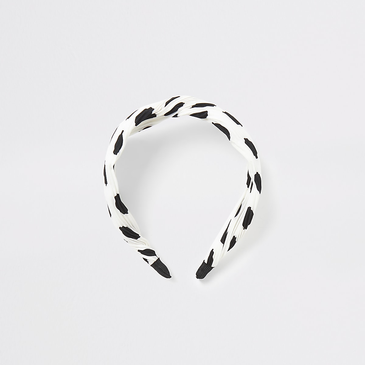White plisse spot knot front headband