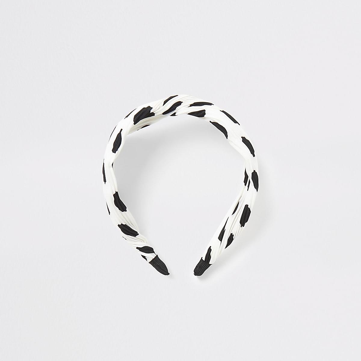 White plisse spot knot front headband