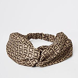 Brown RI monogram print twist headband