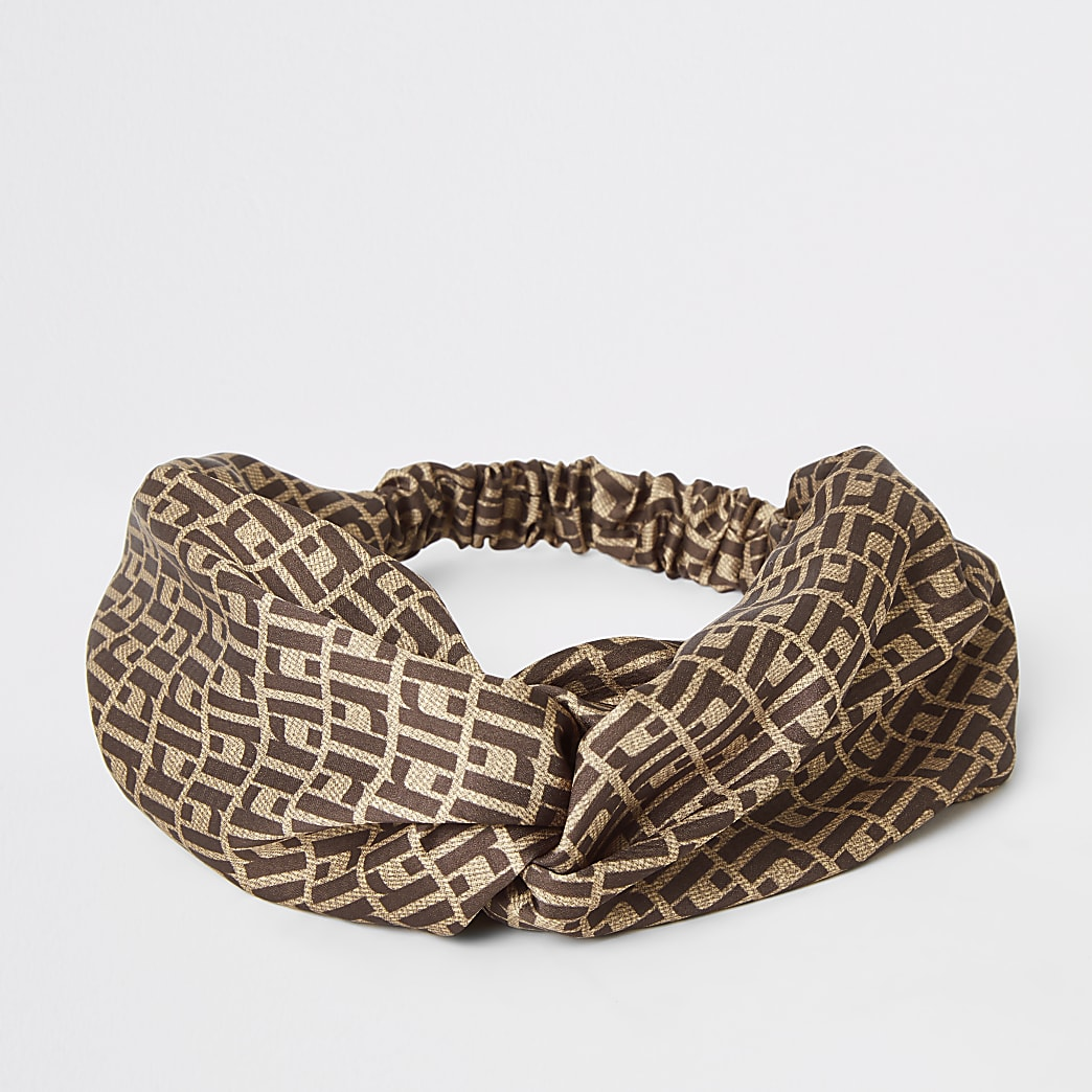 Brown RI monogram print twist headband