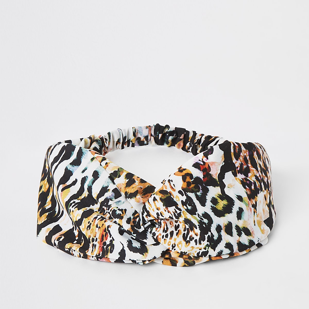 White print twist front headband
