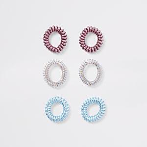 Pink Iridescent spiral hair tie multipack
