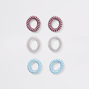 Multipack roze iriserende spiraalvormige haarbandjes