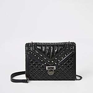 Black quilted stud detail cross body bag