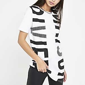Wit ruimvallend T-shirt met print en lovertjes