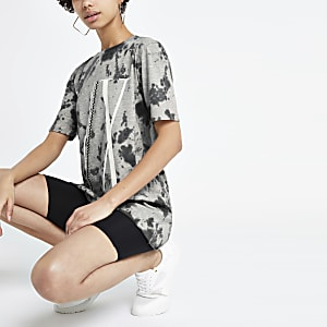 Grey tie dye embellished boyfriend T-shirt