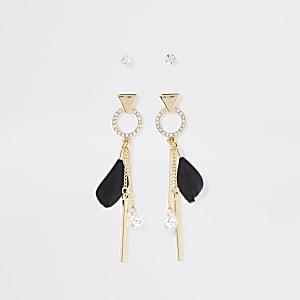 Multipack goudkleurige oorbellen met veer