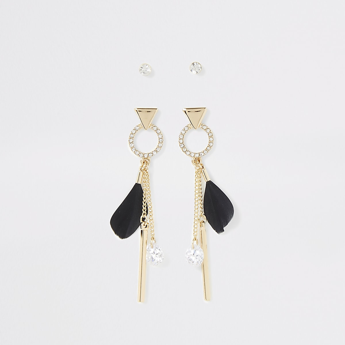 Gold color feather earrings multipack