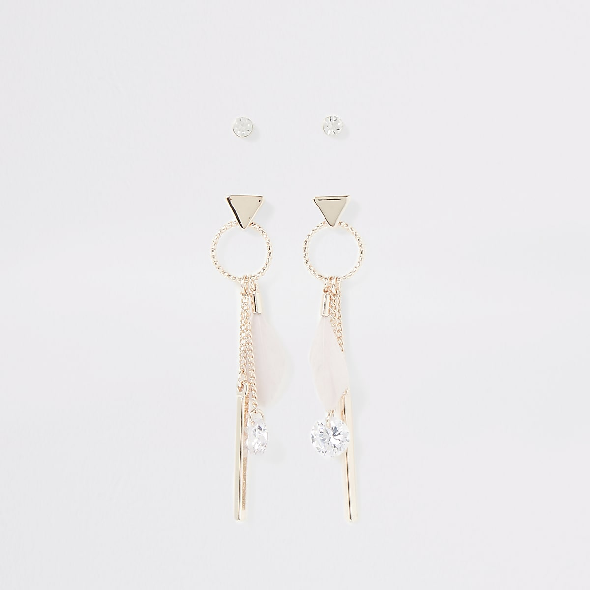 Rose gold color feather earrings multipack