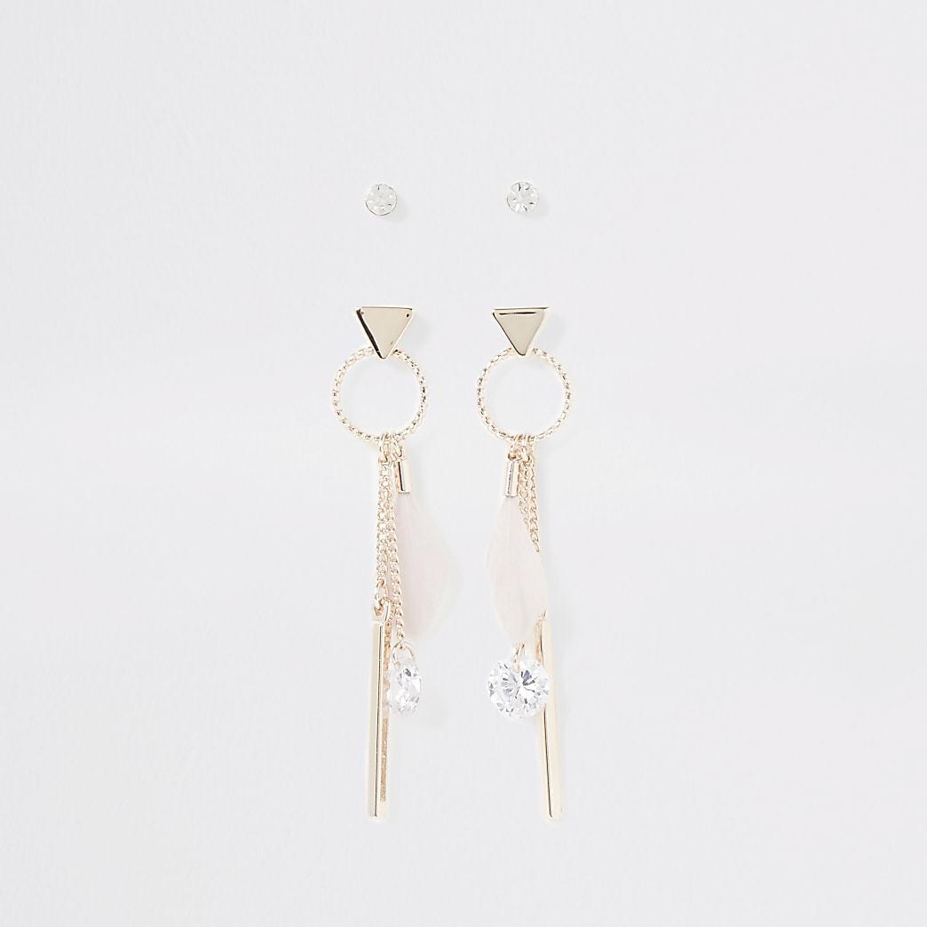 Rose gold colour feather earrings multipack