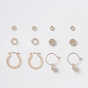 Multipack roségoudkleurige oorbellen bezet met diamantjes