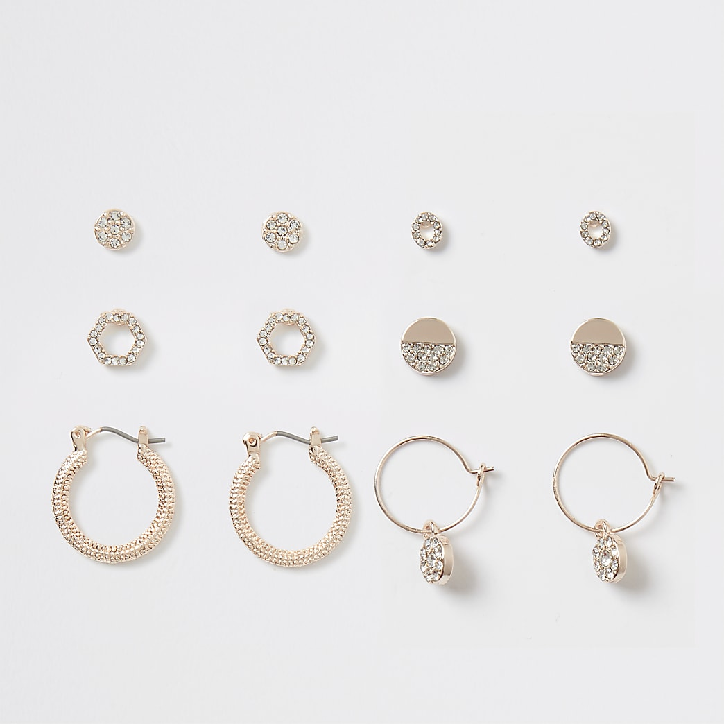 Rose gold colour diamante earring multipack