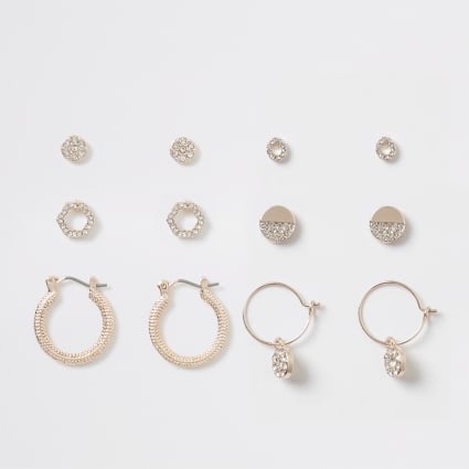 Rose gold diamante pave earring multipack