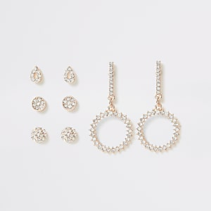 Rose gold diamante dangle earrings multipack