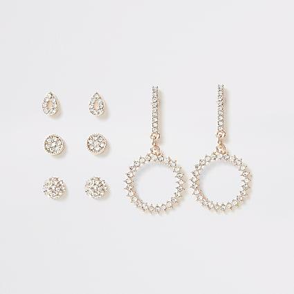 Rose gold diamante dangle earrings multipack