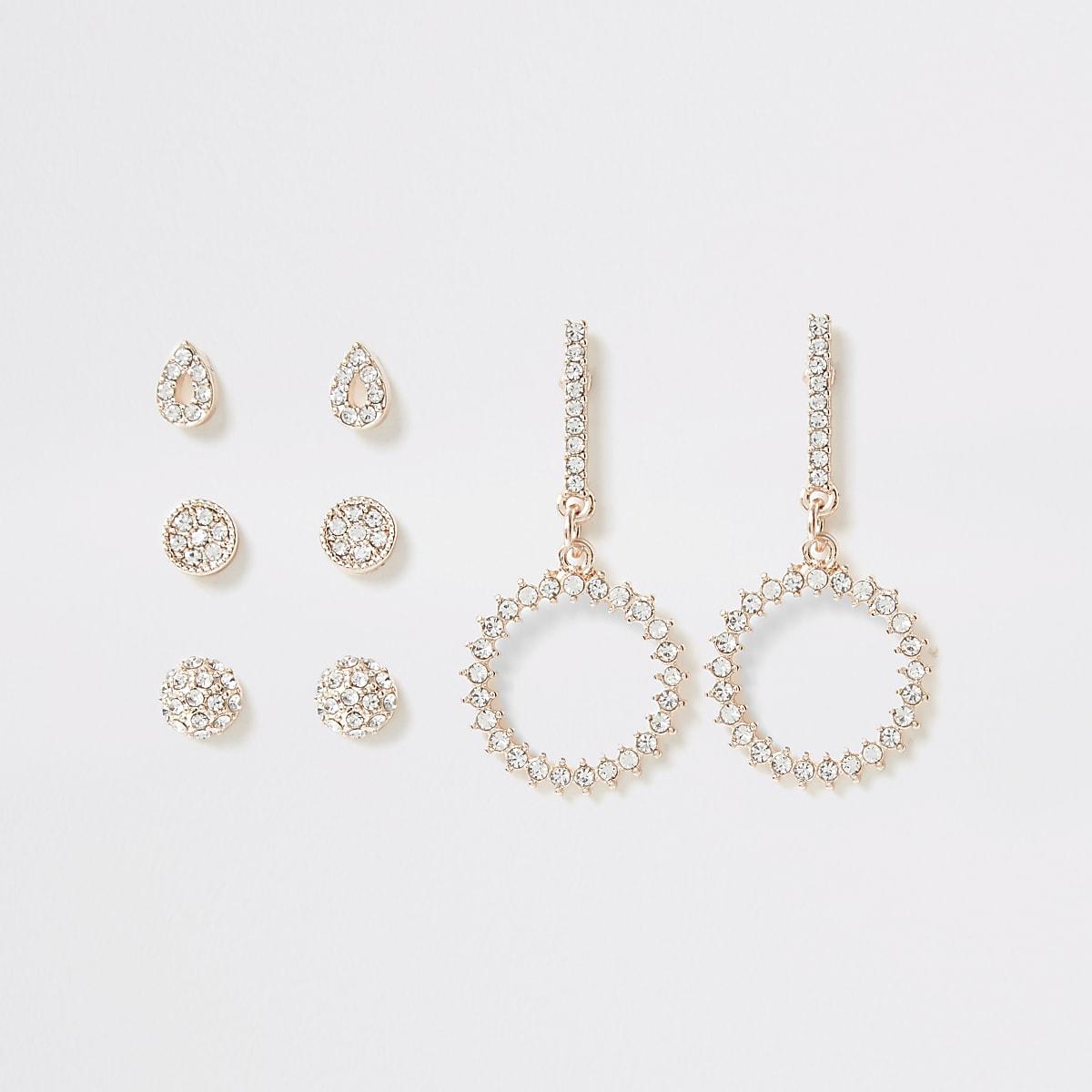 Multipack roségoudkleurige oorhangers met diamantjes