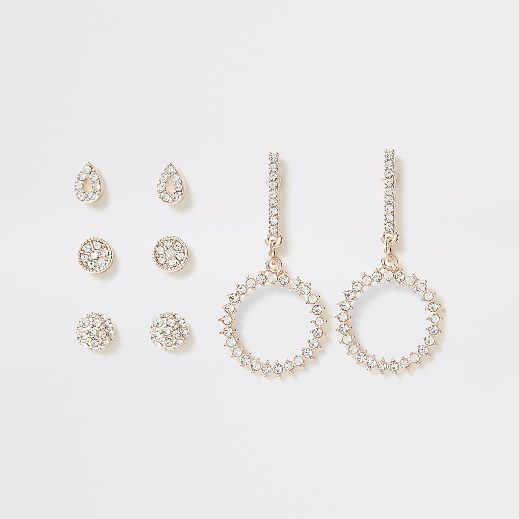 Rose gold colour diamante dangle earrings