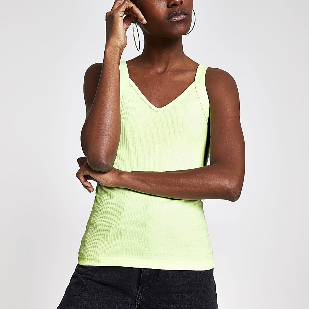 Neon green ribbed V neck cami vest