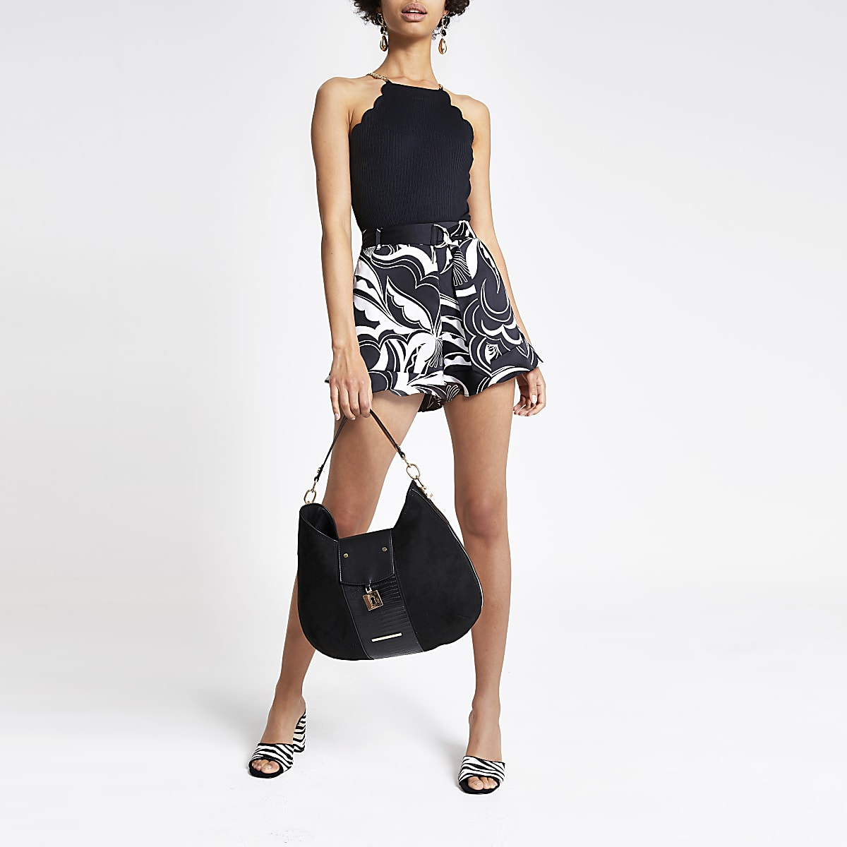 Black scallop trim bodysuit