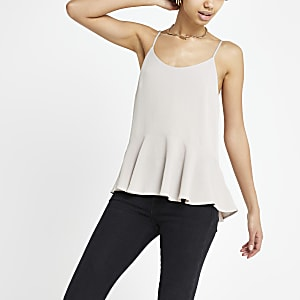 Grey peplum cami top