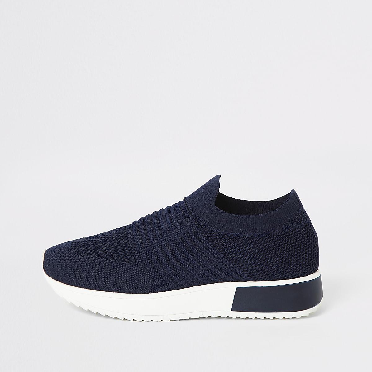 Marineblauwe gebreide sneakers