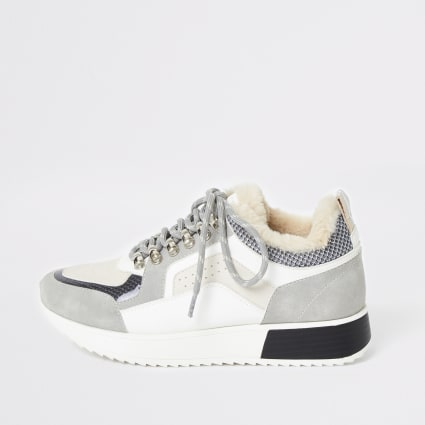 Light grey chunky lace up trainers