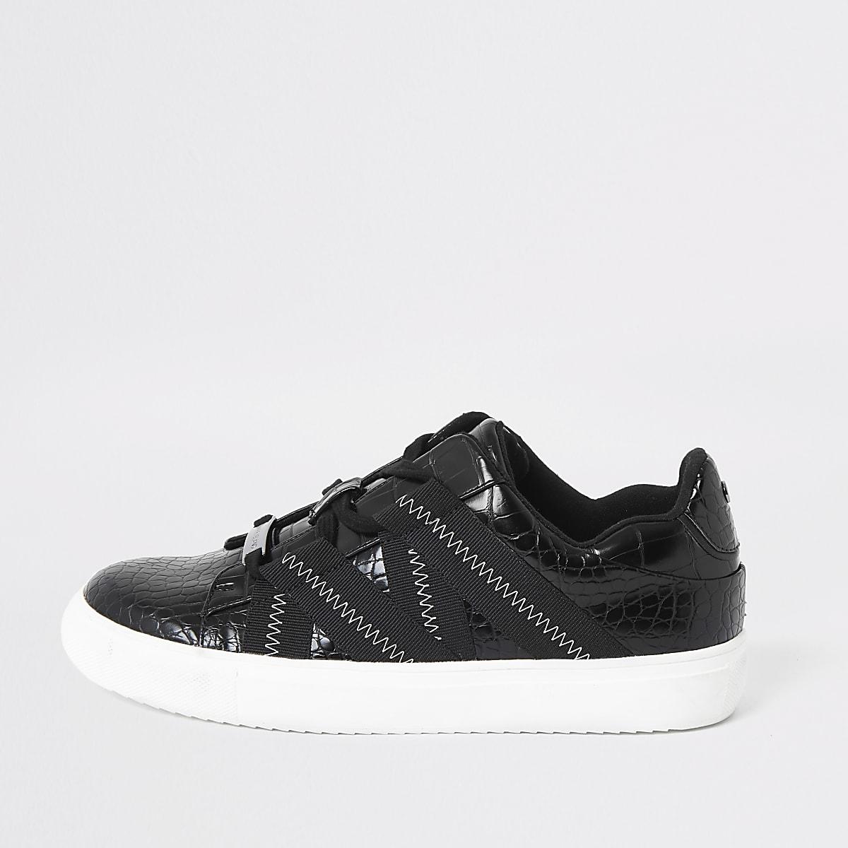 Baskets noires à bandes grain croco et lacets