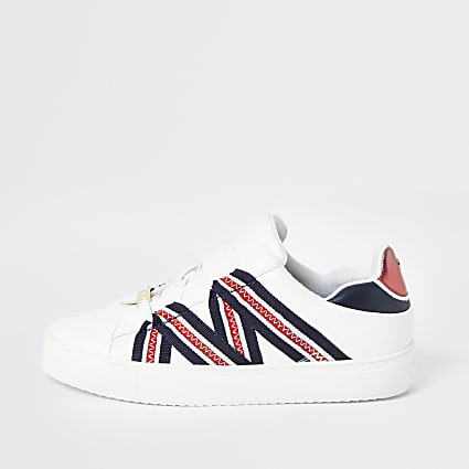 White tape lace-up trainers