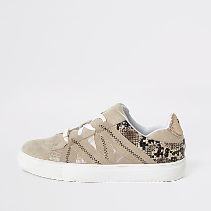 Beige snake print tape lace-up trainers