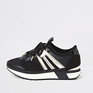Sneaker in Schwarz-Metallic zum Schnüren