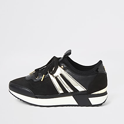 Black metallic lace-up runner trainers