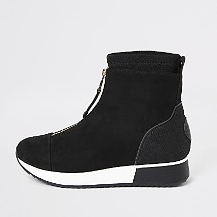 Black zip front sock trainers